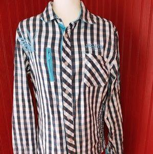 Born Fly Cotton Button Shirt Checks L